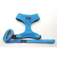 Blue Polka Dot  Wagytail Harness & Matching Lead