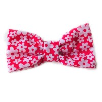 Unisex Cerise Daisy  Bow Tie