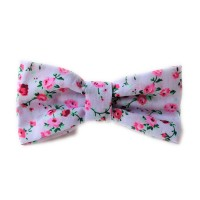 Unisex White Floral  Bow Tie