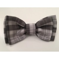 Unisex Grey Plaid Bow Tie