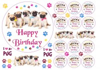 Edible Icing Happy Birthday 6″ Cake Topper 12 Cupcake Toppers & 20 Extra's