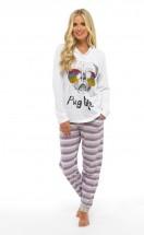 Ladies Pug Life Hooded PJ Set