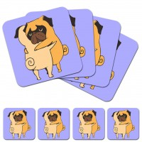 Hugging Pugs Coaster Set Of 4