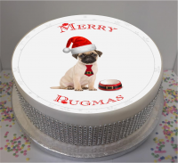 Merry Pugmas 7.5″ Edible Icing Cake Topper  For Christmas