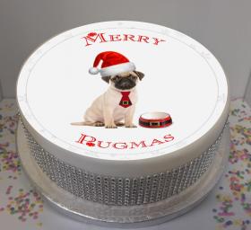 Merry Pugmas 7.5″ Edible Icing Cake Topper  For Christmas