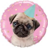 Pink Pug 18 inch Balloon