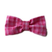 Pink Checked Bow Tie