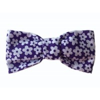 Unisex Purple Daisy  Bow Tie