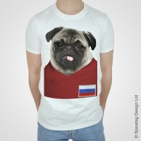 Russia Pug Football T-Shirt (Adult Unisex)