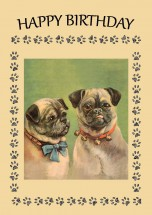 Vintage Pug Birthday Card