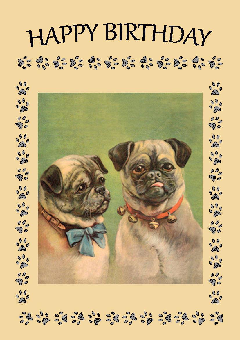 Vintage Pug Birthday Card