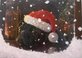 Stunning Black Pug Christmas Card
