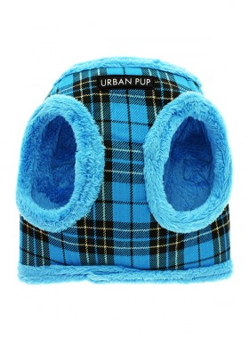 Urban Pup Blue Checked Step In Fleece Lined Jacket Harness