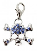 Blue Diamante Skull Charm
