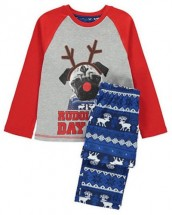 Kids Rudolph Pug Christmas Pj Set Age 6-7Years