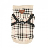 Puppia Dean Beige Fleece Lined Sweater With A Built In Harness