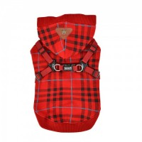 Puppia Dean Red Fleece Lined Sweater With A Built In Harness