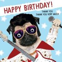 Elvis Pug Birthday Card