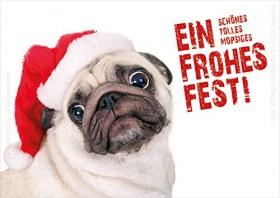 German Pug Christmas Postcard
