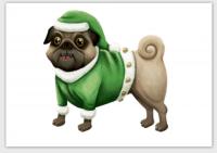 Funny Pug Santa Christmas Card