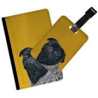 Black Pug Grumpy Passport & Luggage Tag Set
