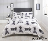 Mono Pug Single Duvet Set
