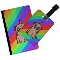 Rainbow Pug Passport & Luggage Tag Set