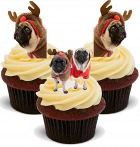 12 Christmas Reindeer Pug Cupcake Toppers