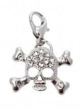Silver Diamante Skull Charm
