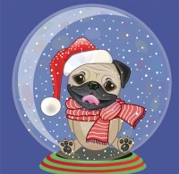 Snow Globe Pug Christmas Card