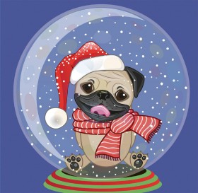 Snow Globe Pug Christmas Card