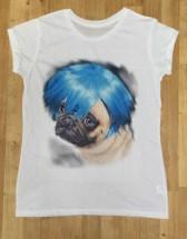 Ladies Blue Wig Pug T Shirt