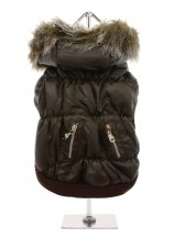 Dark Brown Quilted Ski Coat