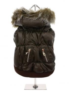 Dark Brown Quilted Ski Coat