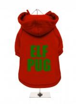 Elf Pug Christmas  Fleece Lined Hoodie