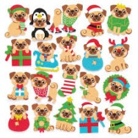 Pug Christmas Foam Stickers (Packs of 10)