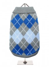 URBAN PUP GREY & BLUE ARGYLE SWEATER