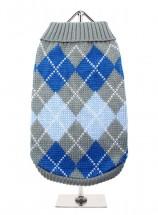 URBAN PUP GREY & BLUE ARGYLE SWEATER