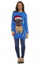 Ladies Pug Christmas Sweater (Sizes XS-XXL)