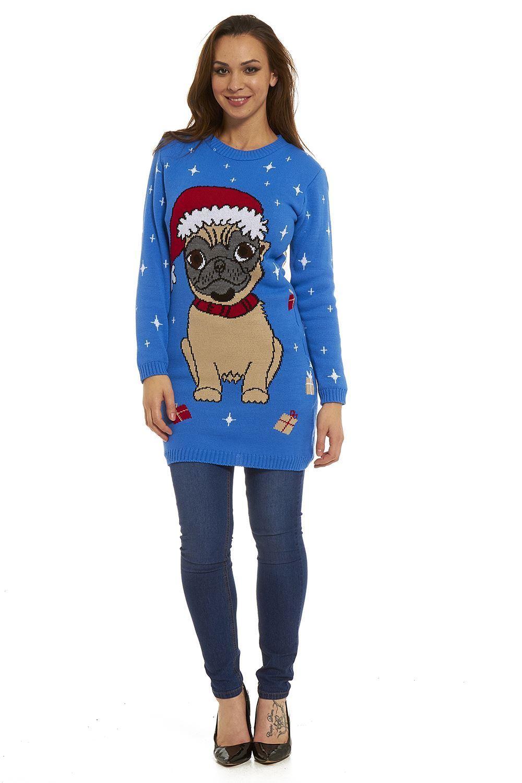 Ladies Pug Christmas Sweater Sizes Xs Xxl I Love Pugs