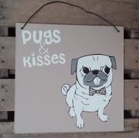Cute Pugs & Kisses Hanging Plaque
