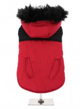 Red & Black Parka Coat