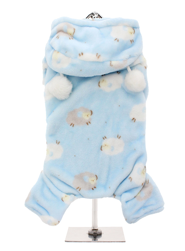 Cosy Baby Blue Fleece Onesie I Love Pugs