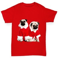 Cute Santa Pug Unisex Kids Christmas T Shirt (Available in 3 colours)