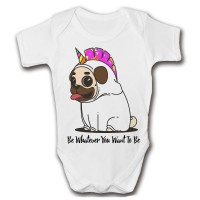 Cute Pug Uniconr Baby Grow