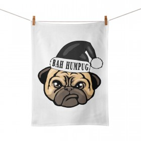 Funny Christmas Pug Tea Towel