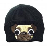 Unisex Pug Black Beanie Hat