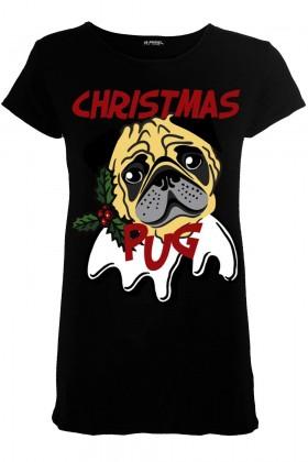 Cute Pug  Christmas Ladies T Shirt