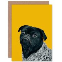 Black Pug Blank Card