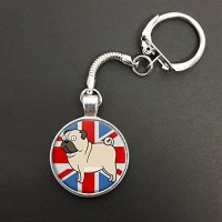 Union Jack Pug Keyring